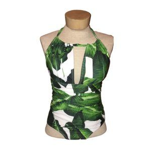 Other - Tropical Leaves One Piece Halter Bathing Suit S